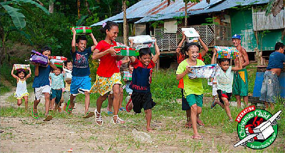 children running with presents in hand